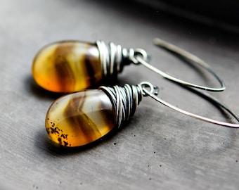 Montana Agate, Agate Earrings, Agate Jewelry, Wire Wrapped, Drop Earrings, Dangle Earrings, Sterling Silver,