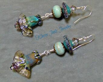 Lampwork Beaded Earrings-Artisan Earrings-Boho Earrings- Artisan Lampwork Earring-Floral Earrings-SRAJD