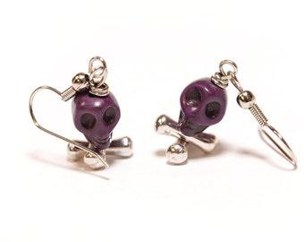 Plum Purple Skull and Crossbone Earrings