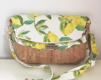 Harriet foldover crossbody bag, fold over purse, crossbody purse, fold over bag, medium crossbody, cork crossbody purse, leather crossbody