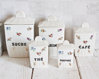 Set of 5 Vintage French SAINT-AMAND Ceramic Canisters || Shabby chic Floral Decor Box - Antique Country Kitchen - French Retro Kitchen Decor
