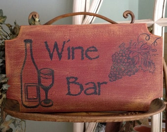 Wine Bar Wood Sign, Tuscan-Themed Wine Bar Sign, Wine Bar Rustic Handpainted Wood Sign