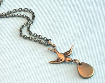 Tiny Bird Necklace - Brass