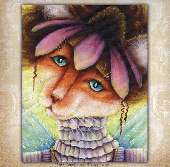 Orange Cat Purple Coneflower Fairy Fantasy 8x10 Fine Art Print CLEARANCE