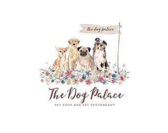 dog logo design pet shop logo custom photography pet logo watercolor dog logo design dog dog premande logo pet food logo dog and flower logo