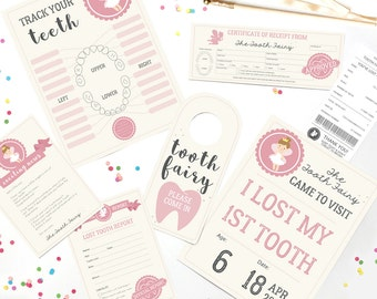 Tooth Fairy Set - Official Tooth Fairy Letter Receipt Certificate Sign Girls - Tooth Fairy Printable - Instant Download and Edit with Adobe