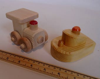 Small Wooden Toy Boat Train Set, Wood Toy, Handmade Waldorf Simple Kids Toy, Kids gift, Jacobs Wooden Toys