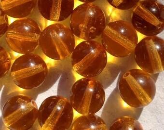 0866.012b Czech Glass Beads Dark Topaz 8mm