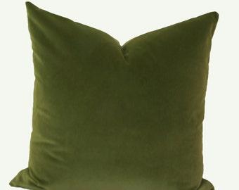 Olive green velvet throw pillow cover Green velvet pillow 18x18 20x20 22x22 24x24 26x26 Euro sham Lumbar pillow 12x20 12x24 14x26 16x26