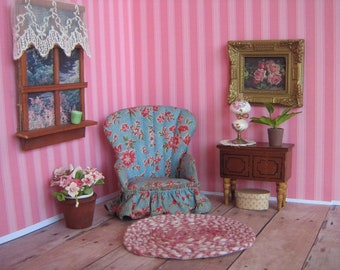 """Vintage  Dollhouse Miniature Fan Back Boudoir Chair- WEE DOLL HOUSE Furniture- Versatile 3/4"""" or 1"""" Scale- ca. Early 1900s"""