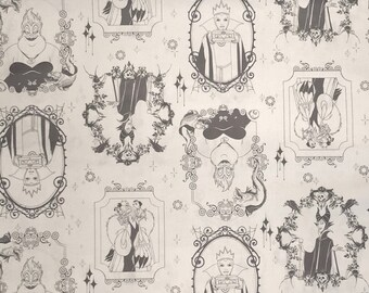 Disney Framed Villains in Iron Fabric by Camelot Fabrics Cruella DeVil Fabric Maleficent Fabric Ursula Fabric Evil Queen Fabric Gray White