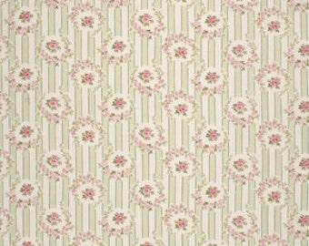 Tanya Whelan Fabric Rosie Stripe in Green Barefoot Roses One Yard