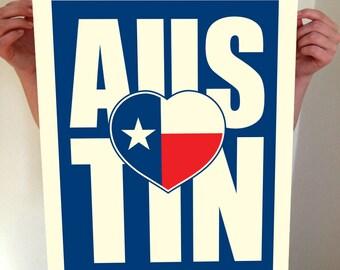Austin, Texas, Austin Heart, Austin Texas, I Heart Austin, Austin Art, Austin City Print, Austin Map, Austin Print, Typography