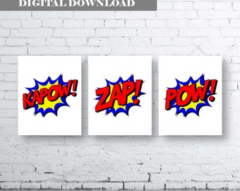 Superhero Quote Art. Set of Three (3)-Instant Download. Kapow Zap Pow. Superhero Bedroom Art. Superhero action words. Colourful Superhero