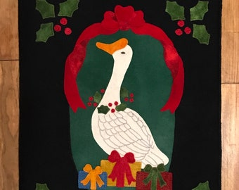 North Cat-Olina Quilts, Christmas Goose, Wool Applique Pattern