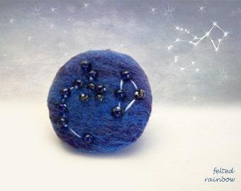 Gift for Sagittarius, Needle felted brooch, Constellation brooch, Sagittarius Zodiac, Sagittarius brooch, Travertine stones, Blue Brooch