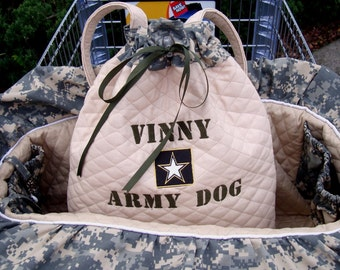 Dog Cart Cover -Shopping Cart Cover - Dog Cart Cover - Army Salute - Includes Embroidered Personalization