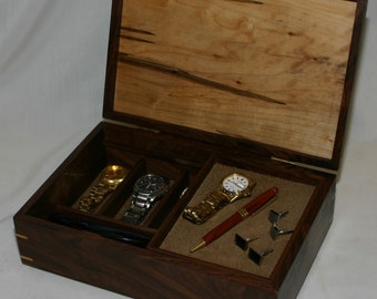 Men's combination Valet Box and Watch box - Walnut with an ambrosia maple top  #584 - sliding tray  - leather lined