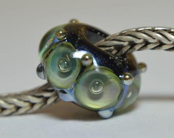 Unique Handmade Lampwork Glass European Charm Bead - SRA - Fits all charm bracelets - Silver Core Options
