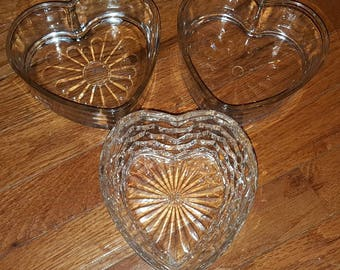 Set of 14 glass heart bowls dishes containers candle holders Valentine's Day Gift Home Decor or Wedding Decor Gift