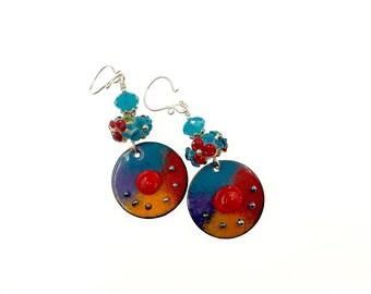Multicolor Earrings, Lampwork Earrings, Red Blue Orange Enamel Earrings, Gift for Her, Drop Earrings, Glass Bead Jewelry, Artisan Earrings