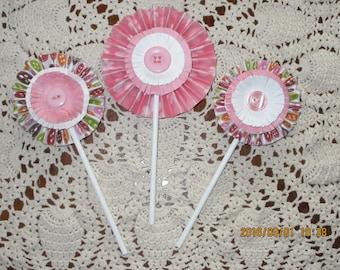 Pinwheel Cute as a Button Flowers/ Baby Shower/ Cute as a Button
