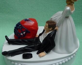 Wedding Cake Topper Washington Capitals Caps Hockey Themed w/ Bridal Garter Unique Humorous Bride Groom Mask Helmet Puck Sports Fans Funny