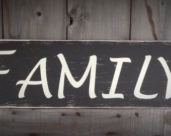 FAMILY Sign  Measuring 24 Inches long and 7 1/2 Inches Tall, farmhouse, farmhouse wall decor, family, wood family sign, wood sign,