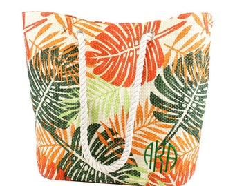 Tropical Leafy Pattern Tote/Beach Bag, personalized tote, monogrammed tote, beach bag, personalized, travel bag, gift for her