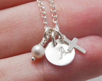 Tiny Cross Initial Necklace, Girl First Communion Gift, Initial Pearl Cross Necklace, Dainty Cross Necklace, First Communion Necklace