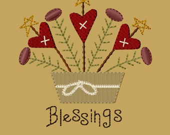 MACHINE EMBROIDERY-Heartfelt Blessings-5x7-Fill-Instant Download