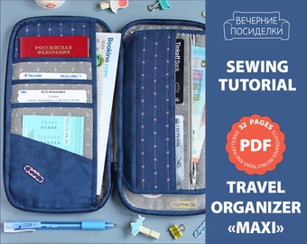 PDF Sewing Pattern & Sewing Tutorial, Travel Wallet / Travel Holder / Travel Organizer Pattern (in English)
