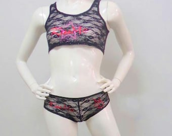 Black All Lace with Kiss Me Rhinestones Cropped Cami & Boy Short Size Medium