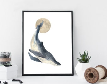 Whale watercolor wall art, art print, nautical poster, home wall decor, whale print, marine, nursery decor, apartment decor, minimal, simple
