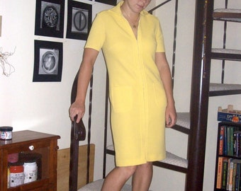 Vintage bright yellow ribbed dress - small/medium