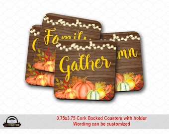 Fall Pumpkin Thanksgiving Cork Backed Coasters with Holder | Drink Coaster