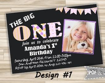 1st Birthday Party Girl Photo invitation Printable, First Birthday Party invitation Digital, Photo Birthday Invitation One for 1st Birthday
