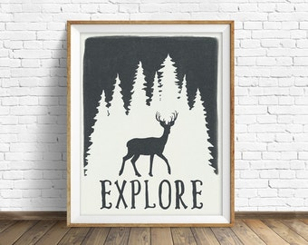 """wall art prints, instant download, printable art, deer, forest, trees, poster, quote art, quote prints, modern, farmhouse, art - """"Explore"""""""