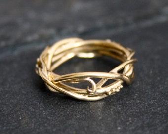 Elvin 14kt Gold Flow Organic Whimsical Engagement Ring Wedding Band, organic band, twig rings, vine ring, goddess ri