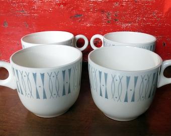 Mid Century Modern Geometric Cups Mugs - Eames Era Set of Four