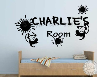 Personalised Nursery Wall Sticker with Cheeky Monkey's Personalized Bedroom Wall Decor Decals