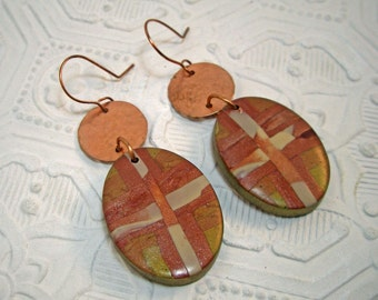 Big Bold Hammered Copper and Metallic Drop Earrings