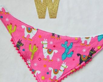 Llama Cactus Hot Pink Bandana Bib, Baby, Toddler, Girl