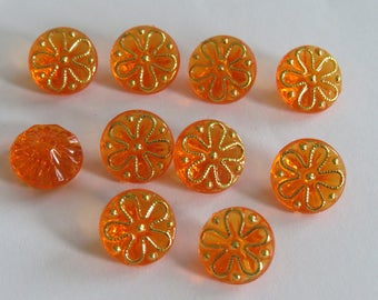 Beautiful gold and orange button translucent flower pattern