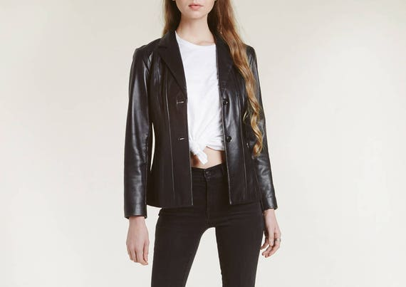 90s vertical patched leather jacket