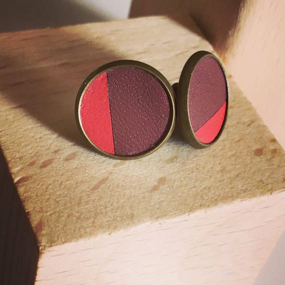 """Earrings / Stud / puce, pink leather - """"HOLi al. / / graphic / / chic / / wedding / / ceremony"""""""