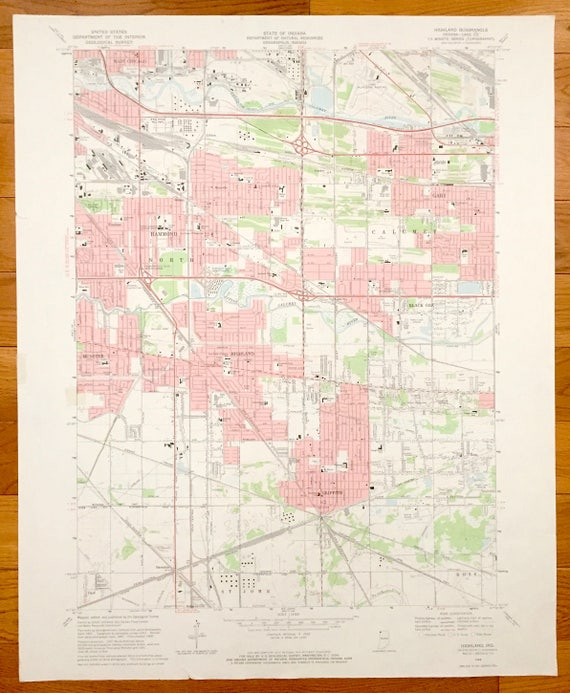 Antique Highland Indiana 1968 US Geological Survey