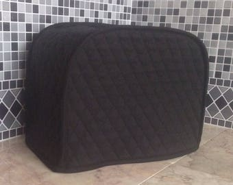 Black 2 Slice Toaster Quilted Fabric Kitchen Small Appliance Covers Made To Order
