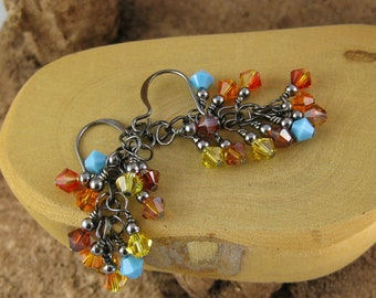 Sonoran southwest flavor multicolor gunmetal finish Swarovski Crystal cascade french hook earrings