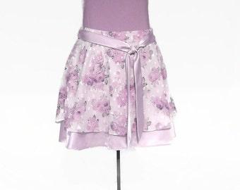 Lavender Plus Size Knee Length Womens Skirt/ Flirty/ Drop Waist/ Sash/ Side Zipper/ Sheer Overlay